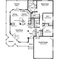 Country Style House Plan - 3 Beds 2 Baths 1506 Sq/Ft Plan #126-130 Main Floor Plan - Houseplans.com