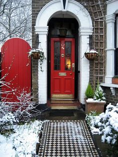 The red doors and that walkway - the snow just sets everything off beautifully!
