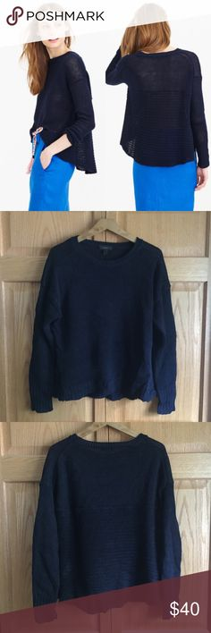 NWOT J.Crew Navy Linen Textured Beach Sweater Comfy cool textured linen sweater from J.Crew.  Slightly sheer (great layered over a tank or cute bralette) with a high-low hem. Perfect with high rise jeans or shorts! Runs slightly large. Never been worn but tags have been removed. NO TRADESNO LOWBALL OFFERS J. Crew Sweaters Crew & Scoop Necks