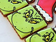 grinch cookies--this is just a photo, without directions, but I bet you could figure out how to make them!