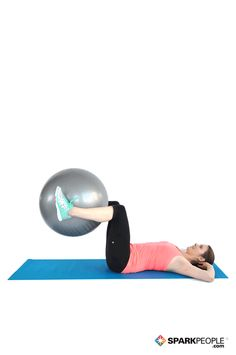 Clamshell Crunch with Ball Exercise Demonstration via @SparkPeople