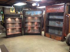 Full truck bed shelving units. All have under shelf lighting and wood shelves can be built to spec on custom orders. Prices start at $2200 contact Kyle with relics awry at 515-240-3182.