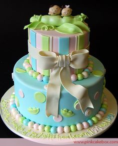 Twin Baby Peapod Baby Shower Cake by Pink Cake Box in Denville, NJ.  More photos at http://blog.pinkcakebox.com/twin-baby-peopod-baby-shower-cake-2010-02-25.htm  #cakes