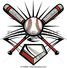 Clip Art of Baseball or Softball Crossed Bats w k7153646 - Search Clipart, Illustration Posters, Drawings, and EPS Vector Graphics Images - k7153646.eps