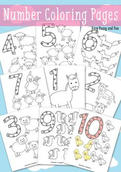 Free Animals Counting Numbers Coloring Pages