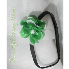 Green Flower Headband Boutique Running by beautifulswagstore