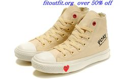 Converse Comme Des Garcons Play Chuck Taylor II High Top Red Heart Beige White