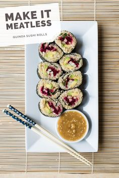 Quinoa Sushi Rolls with Miso-Sesame Dipping Sauce