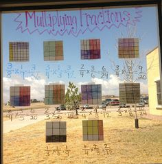 I've seen this done for multiplying fractions, but I love the tracing paper on the window idea. Same page as the multiplying fractions anchor chart. Math Teacher, Math Classroom, Teaching Math, Teaching Ideas, Classroom Ideas, Math 5, Teacher Stuff, Teaching Fractions, Fraction Activities