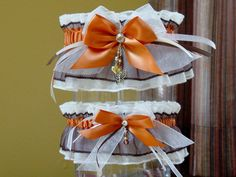 Brown and Burnt Orange Sparkling Wedding by GramminsTreasures. , via Etsy.