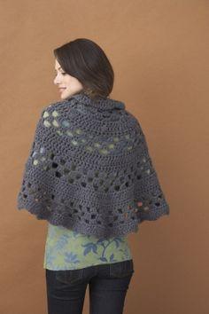 Free crochet shawl pattern. Crochet Half Moon Shawl #70006A from Lion Brand Yarn with 9mm hook, chunky yarn....