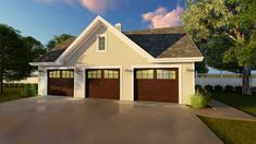 <!-- Generated by XStandard version 2.0.0.0 on 2016-02-04T11:43:10 --><ul><li>A broad gable sits atop the center of three garage doors in this detached garage plan. A man door gives you access to the back yard.</li></ul>