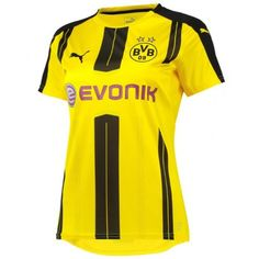 Borussia Dortmund Women's Home Shirt 2016 2017 - Discount Football Shirts, Cheap Soccer Jerseys Football Shirts, Soccer Jerseys, Shirt Shop, Lady, Sports, Shopping, Messi, Tops, Fashion