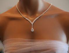 Bridal jewelry set, art deco style necklace, crystal wedding earring set, vintage glamor look, bridesmaid jewelry set - Bridal Jewelry Set Art Deco Style Necklace Earring by RainBling - Bridal Jewelry Vintage, Bridal Jewelry Sets, Bridal Necklace, Necklace Set, Bridal Bracelet, Bridal Jewellery, Jewellery Box, Glamour Vintage, Fashion Necklace