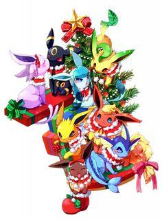 Pokémon Eeveelution Christmas fan art via Pixiv