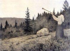 Op under Fjeldet toner en Lur .1900 (Arriba en las colinas la llamada de una Clarion resuena) by Theodor Kittelsen.