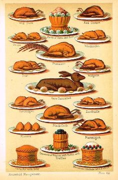 """Antique Chromolithograph print featuring food from """"MRS. BEATON'S HOUSEHOLD BOOK"""" from 1909. Please repin.    http://store.sandtique-rare-prints.com/food-eating-prints/mrs-beetons-household-book---1909"""