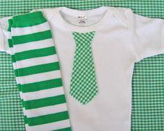 Green Spring Baby Boy Tie Onesie Striped Leg by WeChooseJoy, $22.50