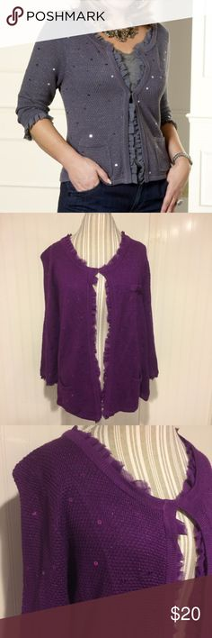 """Colleen Lopez 1X purple ruffle cardigan sweater My favorite things Colleen Lopez 1X purple cardigan sweater with sequins and metallic thread. Sheer fabric ruffles around neckline, down the front and at the ends of the 3/4 sleeves.  90% rayon 10% metallic  measures pit to pit 21 length 25"""" Colleen Lopez Sweaters Cardigans"""