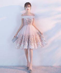 3d105219473b Pink lace applique short prom dress