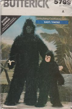 Butterick 5799 Mens and Misses Easy Gorilla sewing pattern by mbchills Gorilla Costumes, Costume Patterns, Costume Ideas, Legends And Myths, Simple Girl, Halloween Costumes, Adult Costumes, Halloween Ideas, King Kong