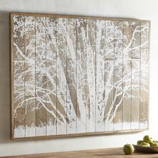 Frosted Tree Planked Wall Decor