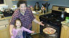 Myla: my happy little helper: we makes pizza!!!