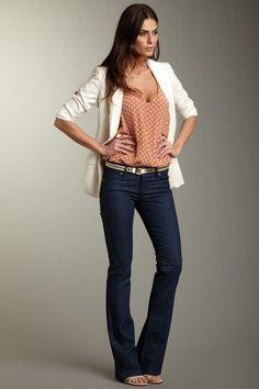 Jeans, white blazer