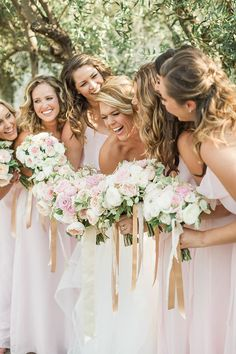 blush bridesmaid dresses | Kate Anfinson Photography | Glamour & Grace