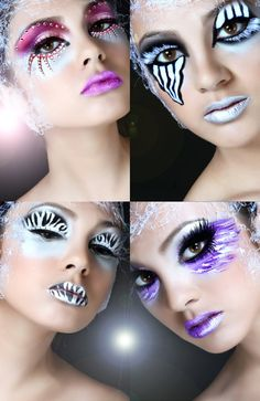 Imaginative fantasy make-up looks, one with pink jewel accents.