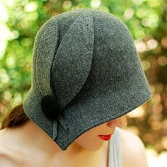 This Handmade cloche hat is made of best quality rabbit fur felt. Hat is hand-draped, and wraps around the head and neck nicely, and follows the
