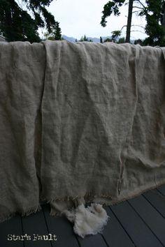 Burlap12  making a burlap tablecloth...