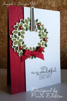 My Paper Diva's team swap for the 2014 Holiday Catalogue. Wonderous Wreath and matching framelits. Wondrous Wreath, Paper Divas, Xmas Ideas, Stampin Up, Christmas Cards, Card Making, Gift Wrapping, Wreaths, Holiday