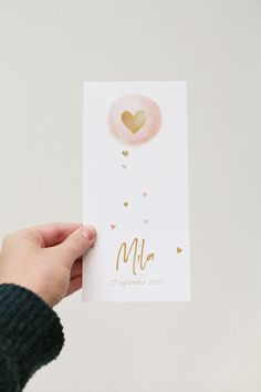 Romantic birth announcement daughter with a watercolor balloon and hearts in gold . Baby News, Baby Canvas, Christening Invitations, Boyfriend Crafts, Announcement Cards, Ballon, Valentine's Day Diy, Packaging Design Inspiration, Valentines Diy