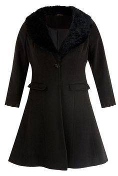 Black fur trimmed coat plus size, £65 | Yours Clothing