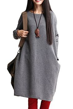 Mordenmiss Womens Loose Fit Basic Solid Pullover Tops Dresses L Style 1 Gray ** Check out this great product.