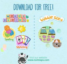 Aside from Tom Taps Speak, we also have other apps that will help expand your child's vocabulary and teach them how to sort real-life objects.  You can download Words and Blocks and WB Bubble Sort on the App store.  To learn more, visit our website - http://tomtaps.com/  #aac #autism #spelling #matching #sorting