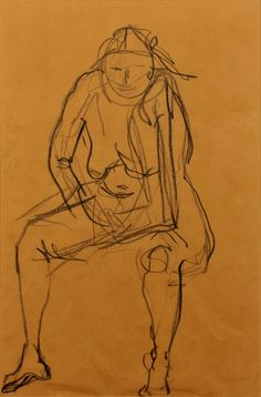 """Nude Charcoal Drawing 24"""" x 24"""""""