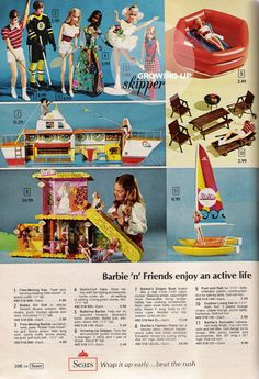 Toys from the 1975 Sears catalog I had the Barbie Dream Boat