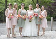 Pink and Coral Bridal Party Flowers
