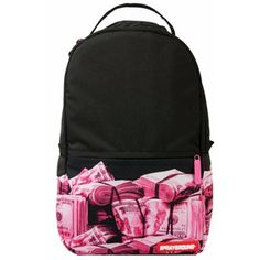 Sprayground - Lil Mini Pink Money Rolled (€80) ❤ liked on Polyvore featuring bags, sprayground bags, roll up bag, mini bag, zip bag and water resistant bag