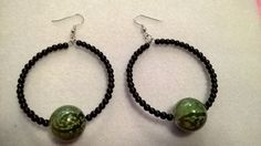 Black and green Beaded Hoop Earrings | LOVE33 - Jewelry on ArtFire