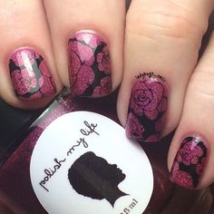 Here's my solo shot of K's beautiful design. The base is @polishmylife Love is Love and I stamped with @justricarda Blackout and my @faburnails stamper. The image is from @uberchicbeauty plate 02 and I used @shoploveangeline Topped with Love. (The new #polishmylife collection releasing tomorrow is amazing - go check out swatches!) Thanks for all the encouragement through this one K.  Again happy belated birthday Shaneka! #kballladybug by ladybugs_nails