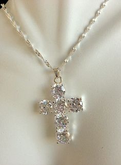 Large Statement CZ and Sterling Silver Cross Pendant and Sterling Necklace by MAGICALUNIVERSE on Etsy