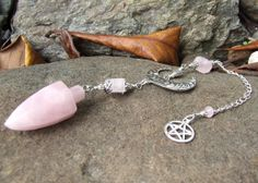Rose Quartz Crystal Gemstone Pendulum  Moon goddess by whiteravendesignsau, $29.00 dowsing pendulum, divining pendulum, energy focus