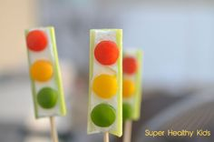 On Wednesday, for a healthy snack as I taught the Wolf Den we made these super yummy, sweet Stop lights. I got the recipe from a fun cookbook by LANA, a Pr