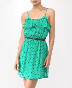 Color=beautiful      Flounced Polka Dot Dress w/ Belt | FOREVER21 - 2000043520