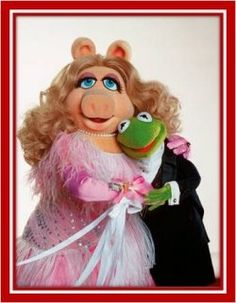 who didn't love miss piggy & kermit? I had a Miss Piggy birthday party at Still love her! (and Kermmy) Kermit And Miss Piggy, Kermit The Frog, Indiana Jones, Les Muppets, Piggy Muppets, Fraggle Rock, Pink Punch, The Muppet Show, Hollywood Couples