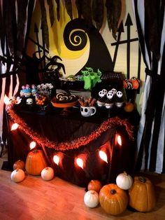 58 Creepy Decorations Ideas For A Frightening Halloween Party. If you're hosting a Halloween party, decorating your home in a spooky but fun way is essential for creating a creepy atmosphere. Spooky Halloween, Table Halloween, Halloween Window Decorations, Nightmare Before Christmas Decorations, Nightmare Before Christmas Halloween, Halloween Party Themes, Halloween Desserts, Holidays Halloween, Halloween Treats