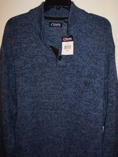 NWT Chaps Ralph Lauren Men's Henley Elbow Patch Pullover Sweater Blue Heather XL #Chaps #Henley